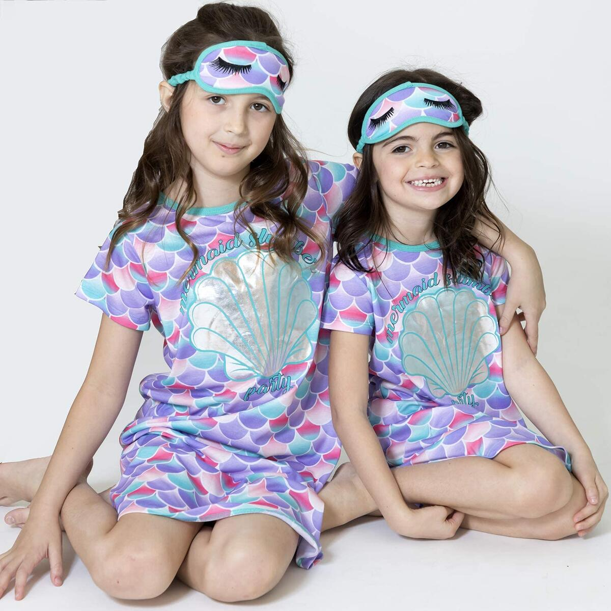 Rebate Only For Color: Pink/Blue Size: 12. Girls Sleep Shirt Nightgown for Girls Unicorn Mermaid Pajamas Matching Mask