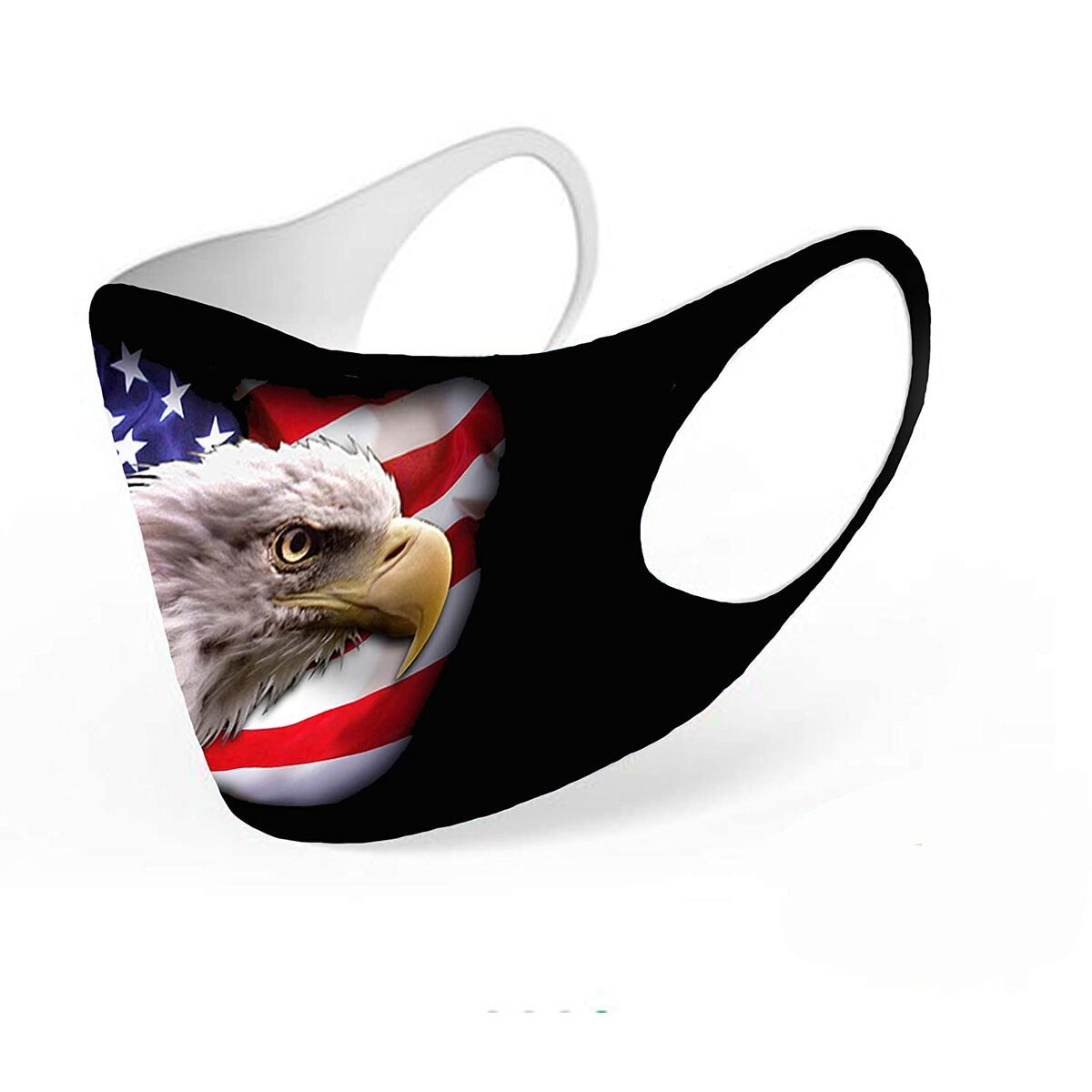 American Flag Face Covering, Small- Medium Size for Women and Teenagers, Bald Eagle Printed Neoprene Mask, Washable Mouth Nose Protective Cover, Reusable Covermask