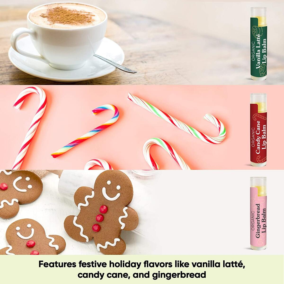Organic Holiday Lip Balm Trio by Sky Organics (3 Sticks) Holiday Flavors Gift Pack Cruelty-Free Candy Cane, Gingerbread, Vanilla Latté Gift Set Stocking Stuffer Limited Edition Made in USA