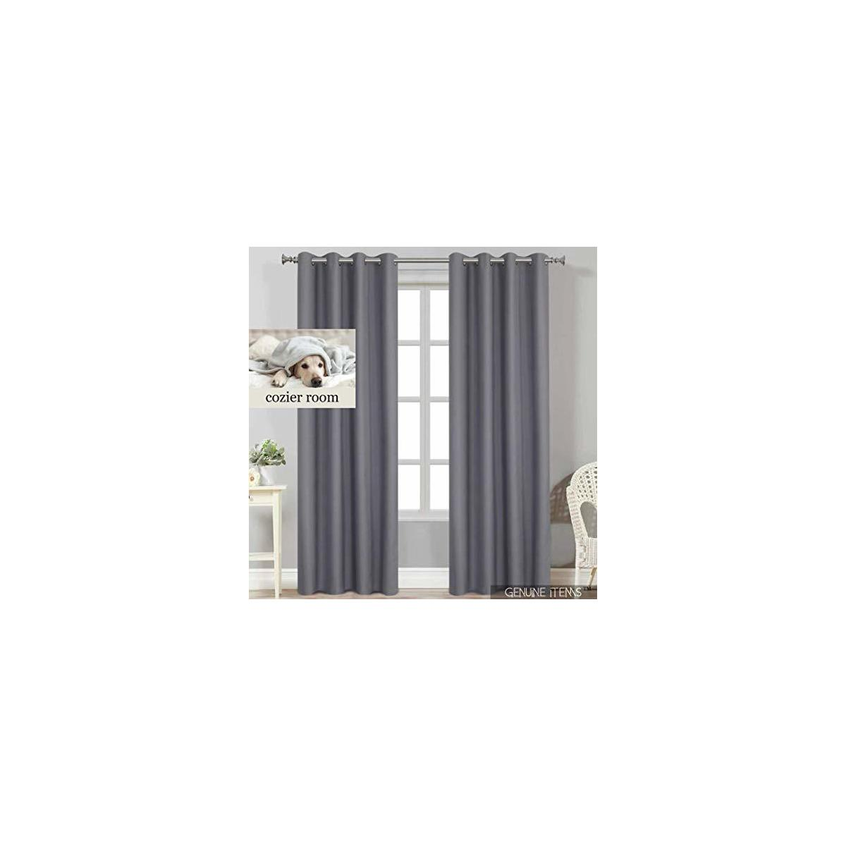 GENUINE ITEMS™ Bedroom Curtains 84 inch Length, Gray Curtains, Black Out Curtains Bedroom Drapes and Curtains, Blackout Thermal Curtains 84 inch Window Curtain Blackout. 52