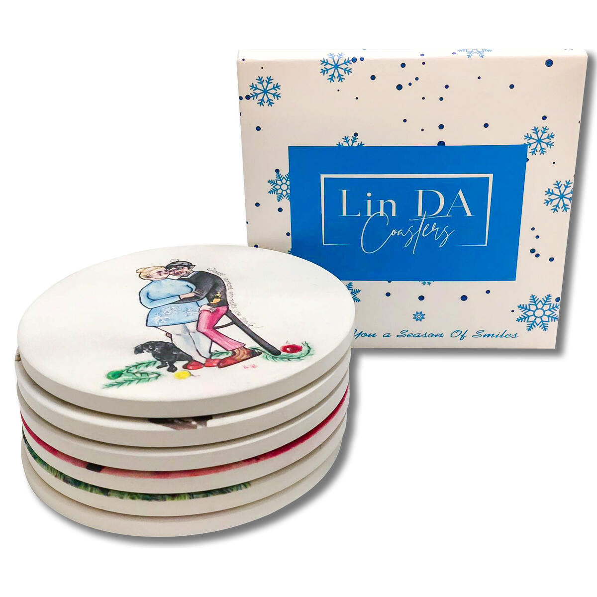 Lin Da Absorbent Ceramic Christmas Coaster Set, Original Watercolor Design, Unique Packaging, Best Gift Idea, Funny and Positive, 6 Functional Round Coasters