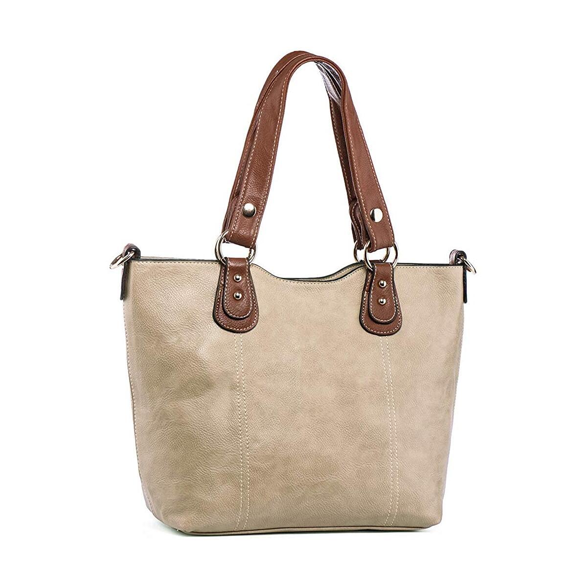 UTAKE Handbags for Women Tote Shoulder Bags PU Leather Top Handle Purse Medium Size Khaki