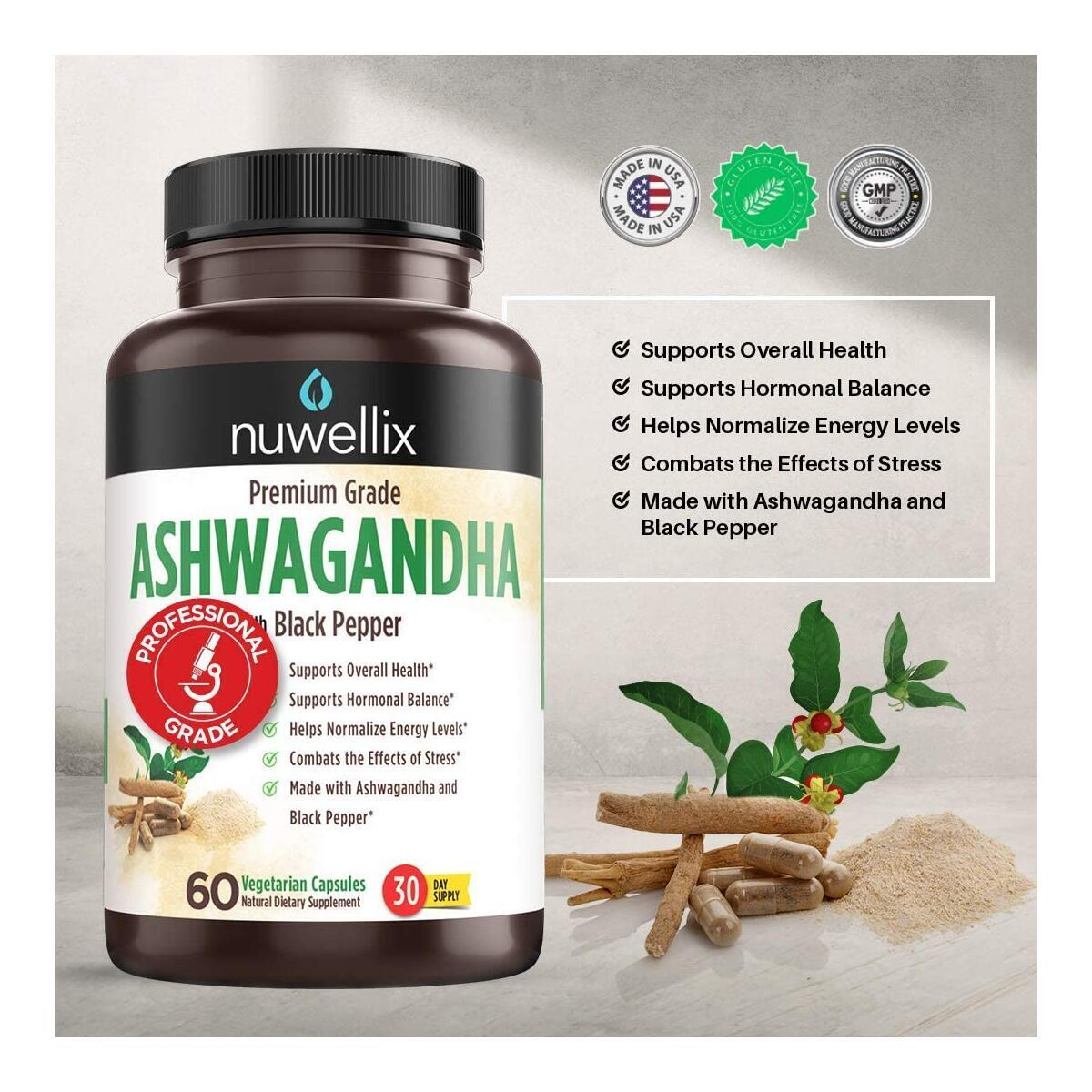 Ashwagandha Capsules with Black Pepper Extract - 1300mg, Natural Ashwagandha Supplement Supports Anxiety and Stress Relief - Promotes Energy Level - 60 Vegetarian Capsules