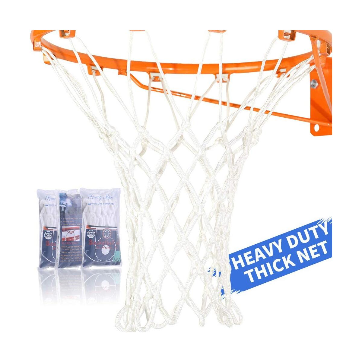 Basketball Net, Heavy Duty Basketball Net Replacement for Basketball Hoop, All Weather Fits Standard Indoor or Outdoor 12 Loops Rims 12 Loops