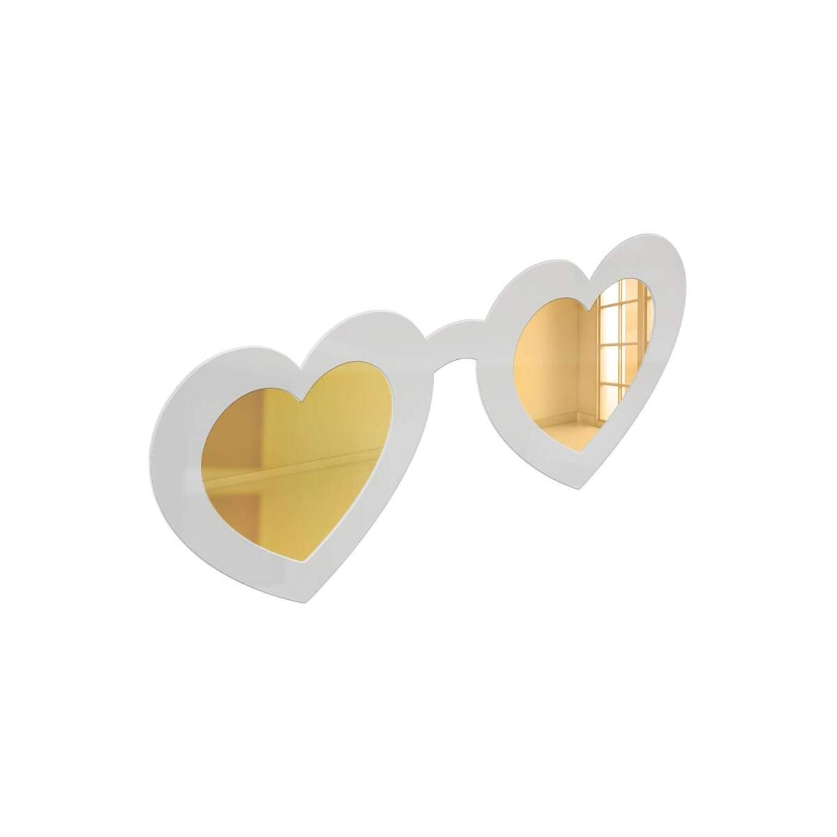 4ArtWorks - 3D Wall Art Heart Sunglasses with Mirror Lenses (Gold/White ONLY, 16x7x1) Trendy Home Decor Mirrors in 2 Sizes | Great for Living Rooms, Bedrooms and Modern Workspaces