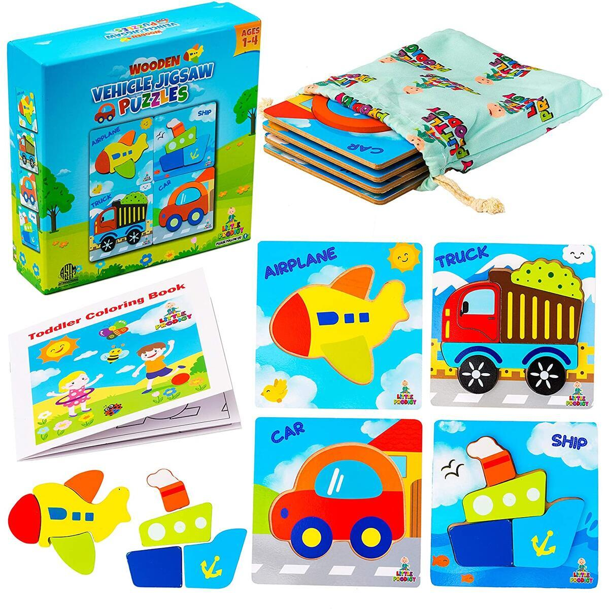 Wooden Vehicle Puzzles for Toddlers