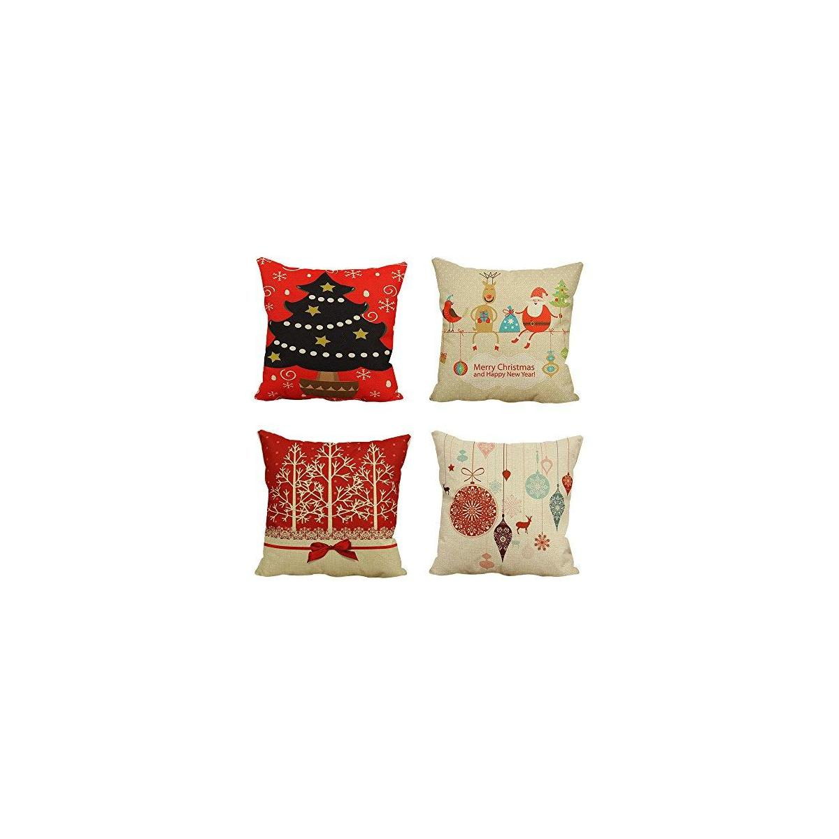 W.A. Portman Christmas Pillow case Covers 18 x 18 Inch Decorative Pillow Covers 4 Pack