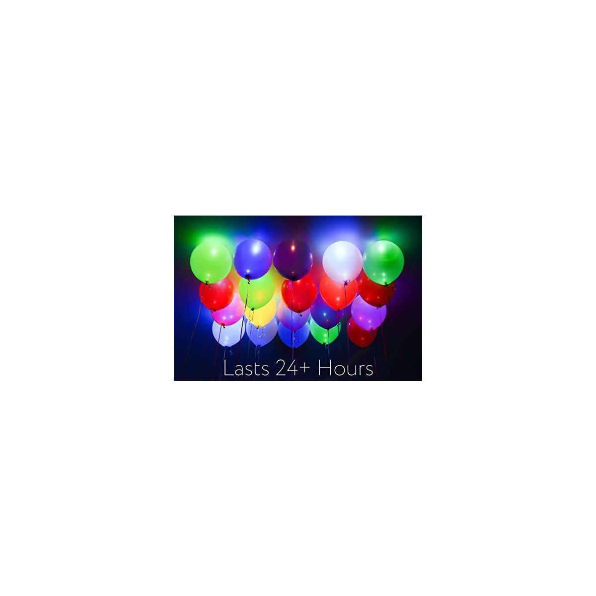 Dusico® Flashing LED Light Up Party Balloons (30 Pack), Rainbow Glow in The Dark Neon Lights Assorted Colors Changing, for Helium Or Air Use, Strong Latex, 12 Inches, Lasts 12-24 Hours