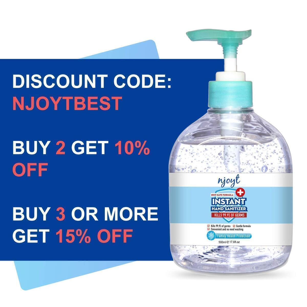 Njoyt Hand Sanitizer Pump Gel - 75% Alcohol Based Sanitizing Liquid, Non-Drying, Gentle & Safe - For Hands, Skin, Commercial Use - Office, Home, Travel Disinfecting & Cleaning Products - 4-Pack, 500ml