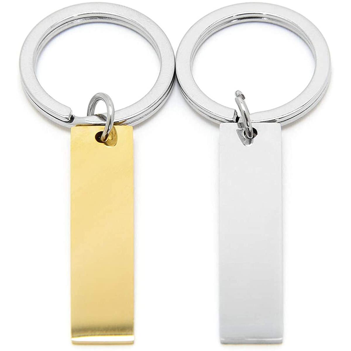 Gold Custom Engraved Keychain. 2 Sides of FREE engraving.