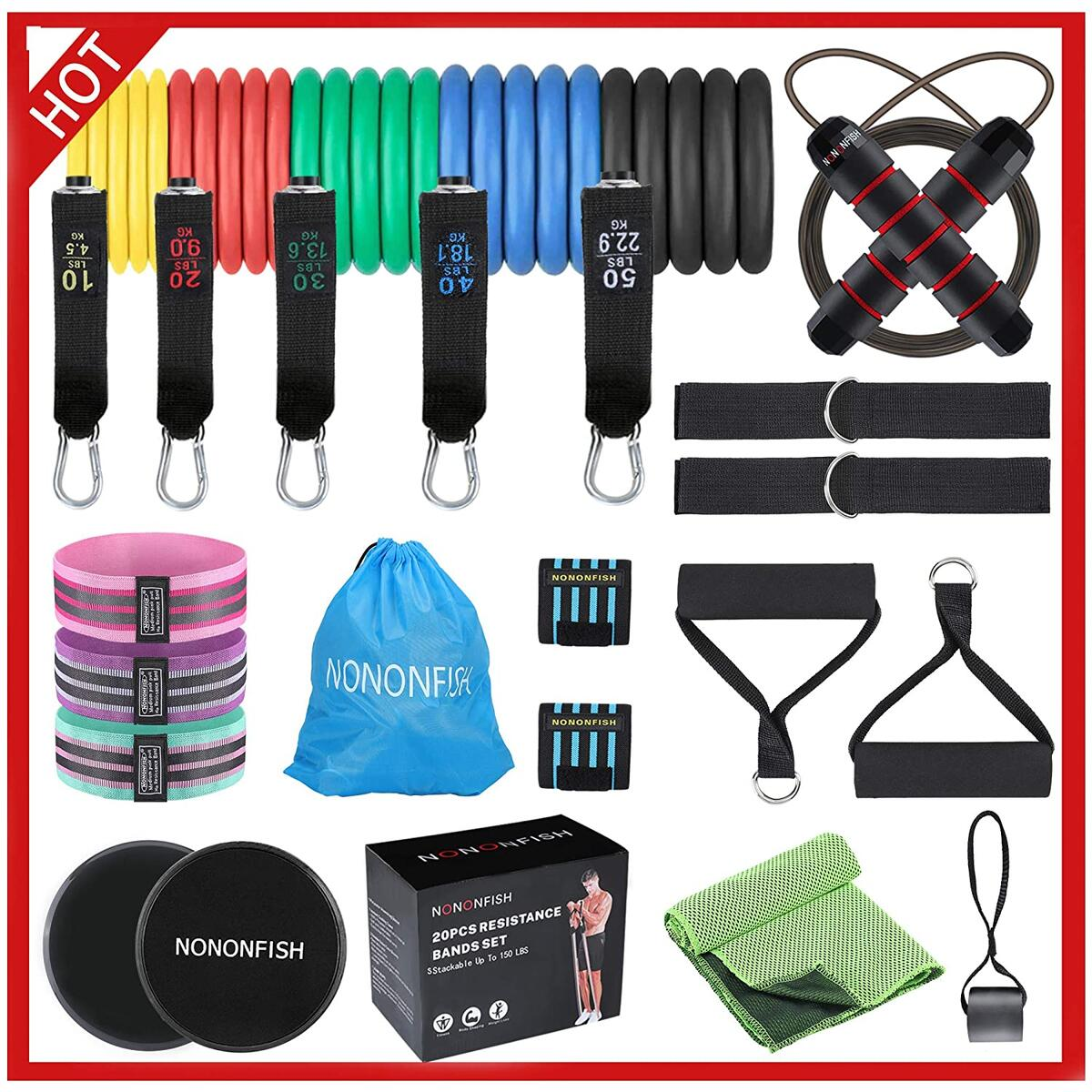 20 piece elastic bands for exercise ,resistance bands with handles set ,workout bands resistance for women /man,fit Strength Training, Physical Therapy, Yoga, Pilates.