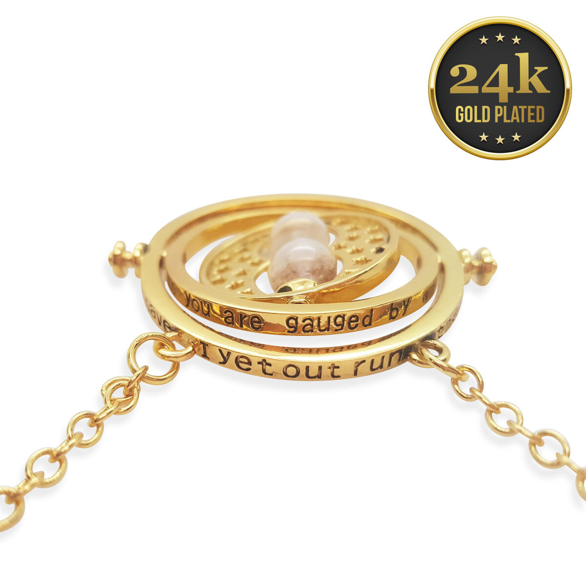24K Gold Plated Harry Potter Time Turner Necklace In a Red Velvet Pouch and Gift Box