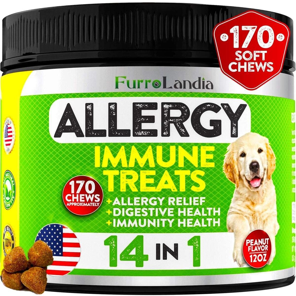 Allergy Relief Immune Supplement for Dogs - Seasonal Allergies, Itch Relief for Dogs, Skin Hot Spots - Colostrum, Digestive Probiotics for Skin Health - Made in USA | 170 Treats - Peanut Flavor