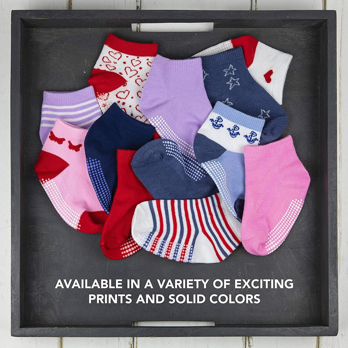 12 Pairs Non-Slip Toddler Socks With Grips for Baby Boys and Girls - Anti-Slip Crew Socks for Infant's and Kids