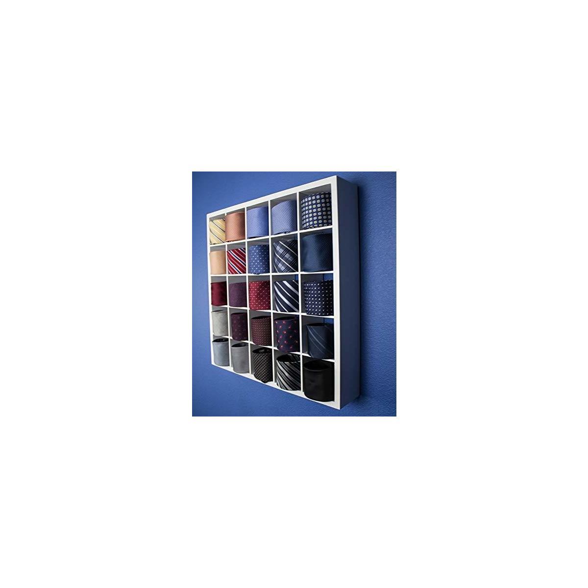 Tie Organizer Belt Scarves Closet Display Cabinet Storage 9 Cubes (3 x 3) - White