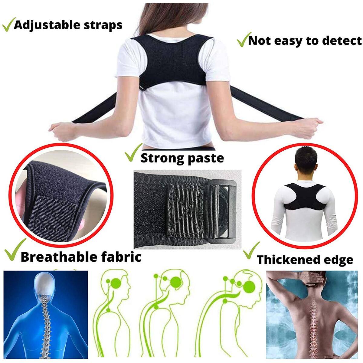 Back Posture Corrector for Women, Men. Adjustable Upper Back Straightener Clavicle Support and Providing Pain Relief from Neck. 5 Items Pack Неаd Наммоk fоr Nесk Раin, Eye Mask, Ear Plugs, Carry Bag