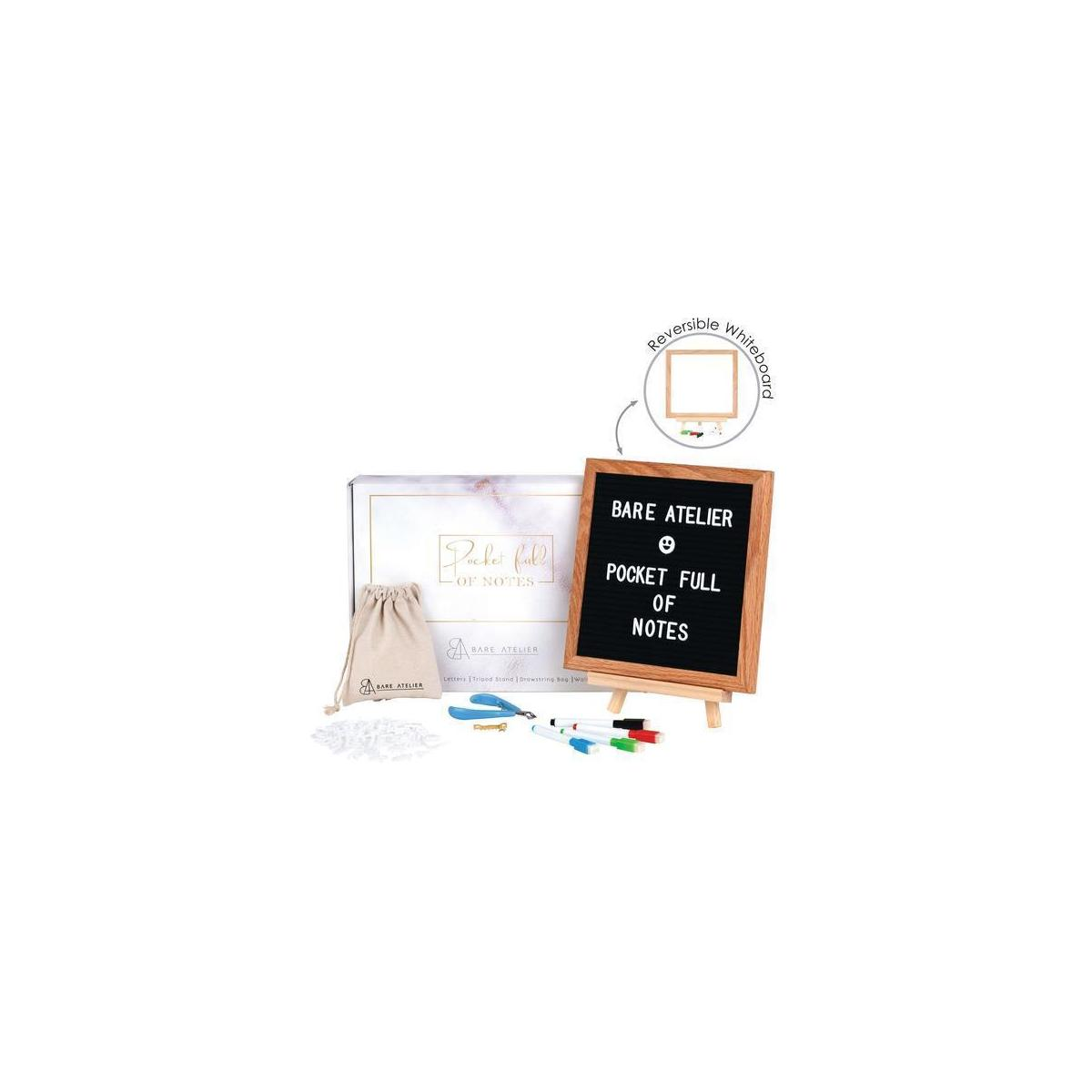 "2-in-1 Double-sided Letter Board & Whiteboard with Stand  10x10"" Message Board, 340 Characters, Wall Mount, Letter Cutting Tool by Bare Atelier"