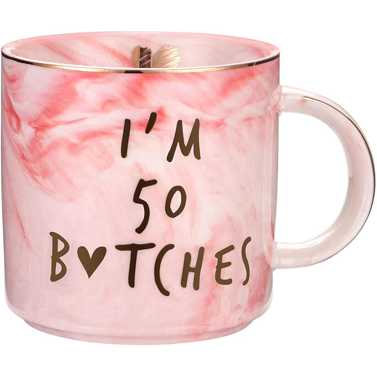 I'm 50 - Funny 50th Birthday Gifts for Women - Best Turning 50 Year Old Birthday Gifts Ideas for Women, Wife, Mom, Daughter, Sister, Aunt, Best Friends, BFF, Coworkers, Her - Ceramic Coffee Cup…