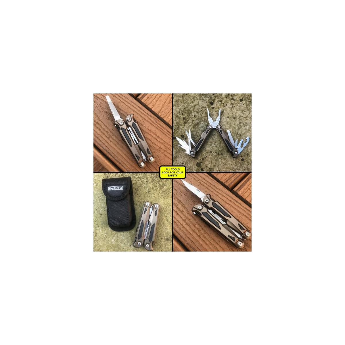 Multitool Knife with Scissors and Belt Pouch Gift Set by Explora. New Design - Contoured Handles for Safe and Comfortable Grip. For Hiking, Camping, Survival, Travel, Fishing, Bug Out Bag.