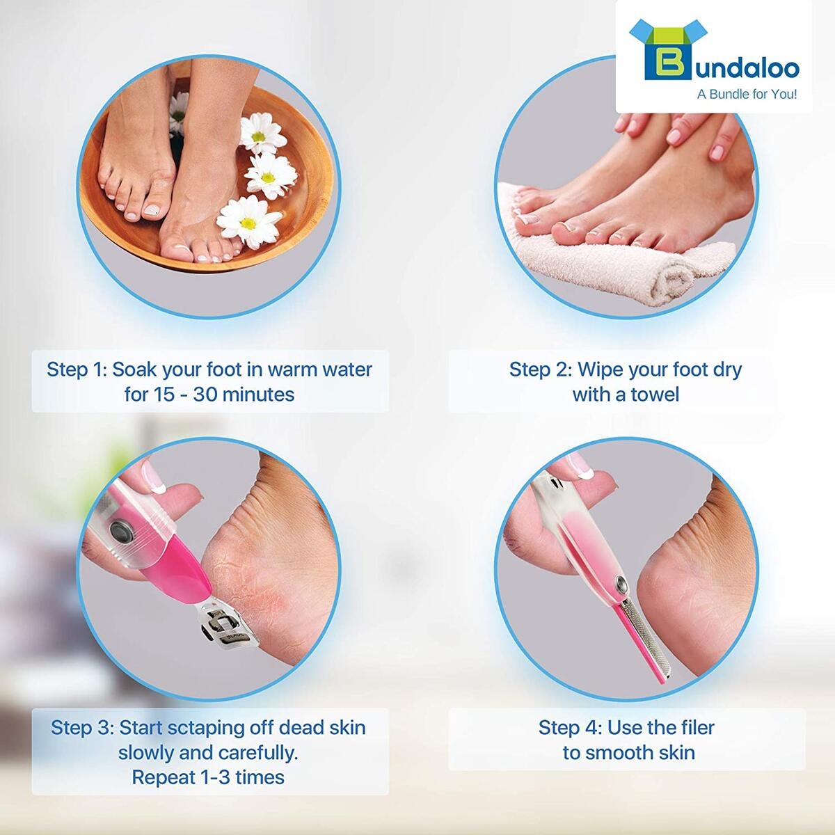 Bundaloo Callus Shaver Rasp for Feet - 2-in-1 Foot Spa Tool for Cracked Rough Heels - Dry Skin Remover - Stainless Steel, Rust-Resistant - Professional Pedicure Tool With 5 Refill