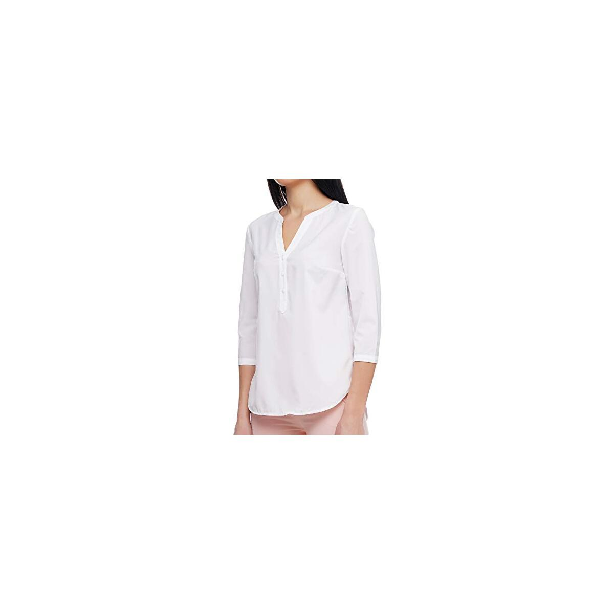 LadyLike Womens 3/4 Sleeve V Neck Casual Blouse Relaxed-Fit Shirt Tops for Work Office