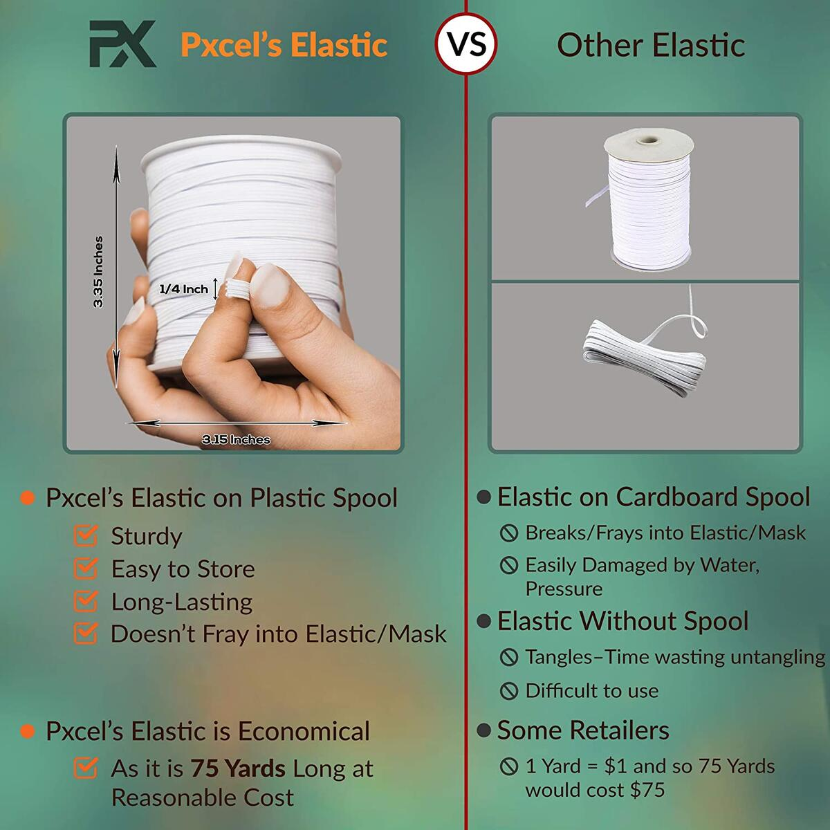 Elastic String Bands for Sewing Masks, White Elastic Cord 1/4 inch for Sewing Masks in 75 Yards by Pxcel Ltd, High Elasticity in Sturdy Plastic Spool