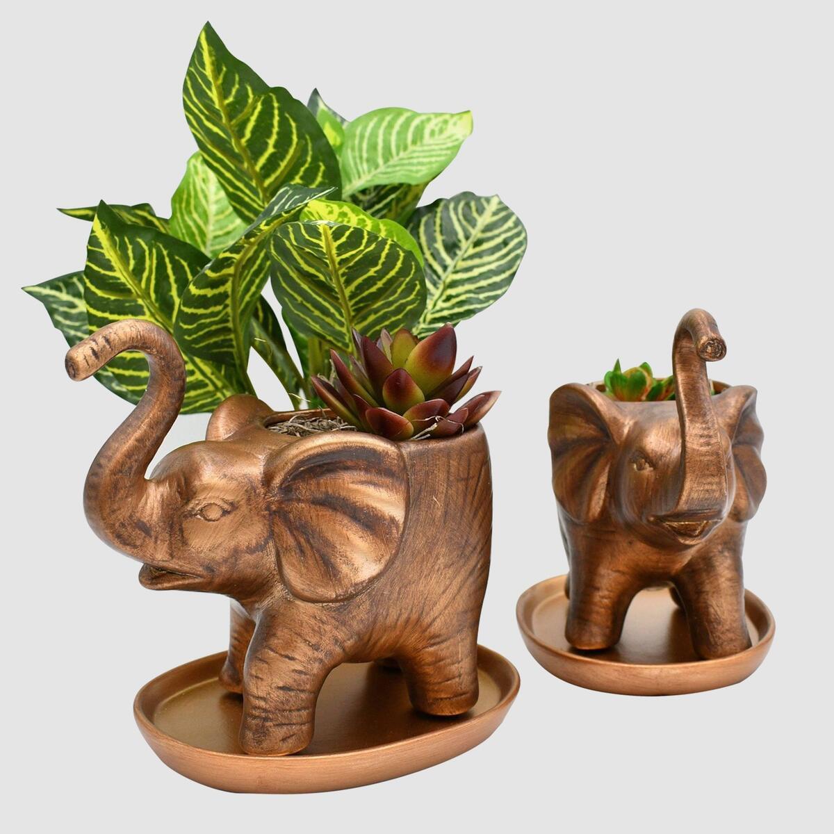 Elephant Planter Set - Good Luck, Heart Shaped Trunks