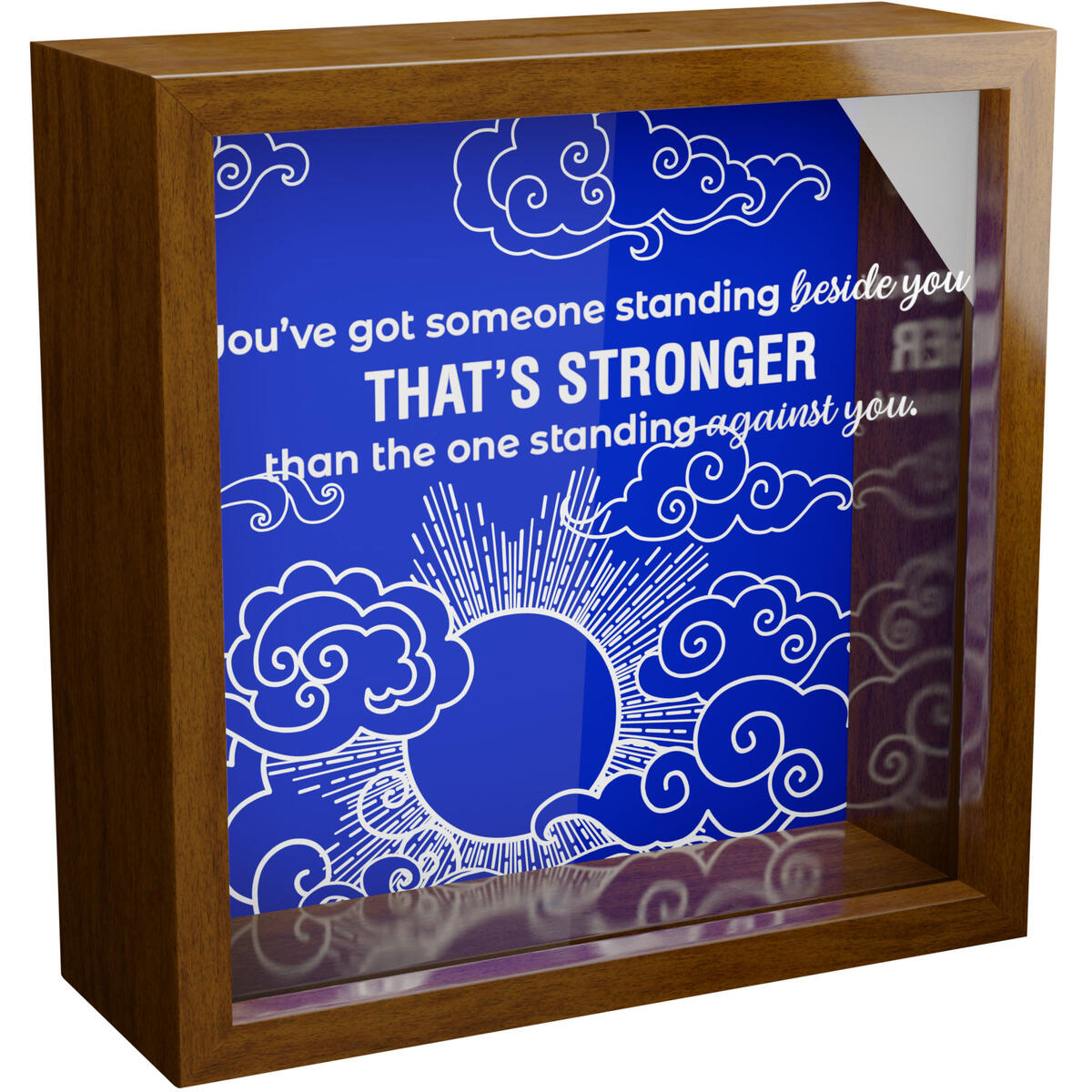 Christian Gifts for Men   Inspirational 6x6x2 Memorabilia Shadow Box   Wood Keepsake with Glass Front for Man of God   Religious Wall Decor   Spiritual Framed Quotes for Home Decoration