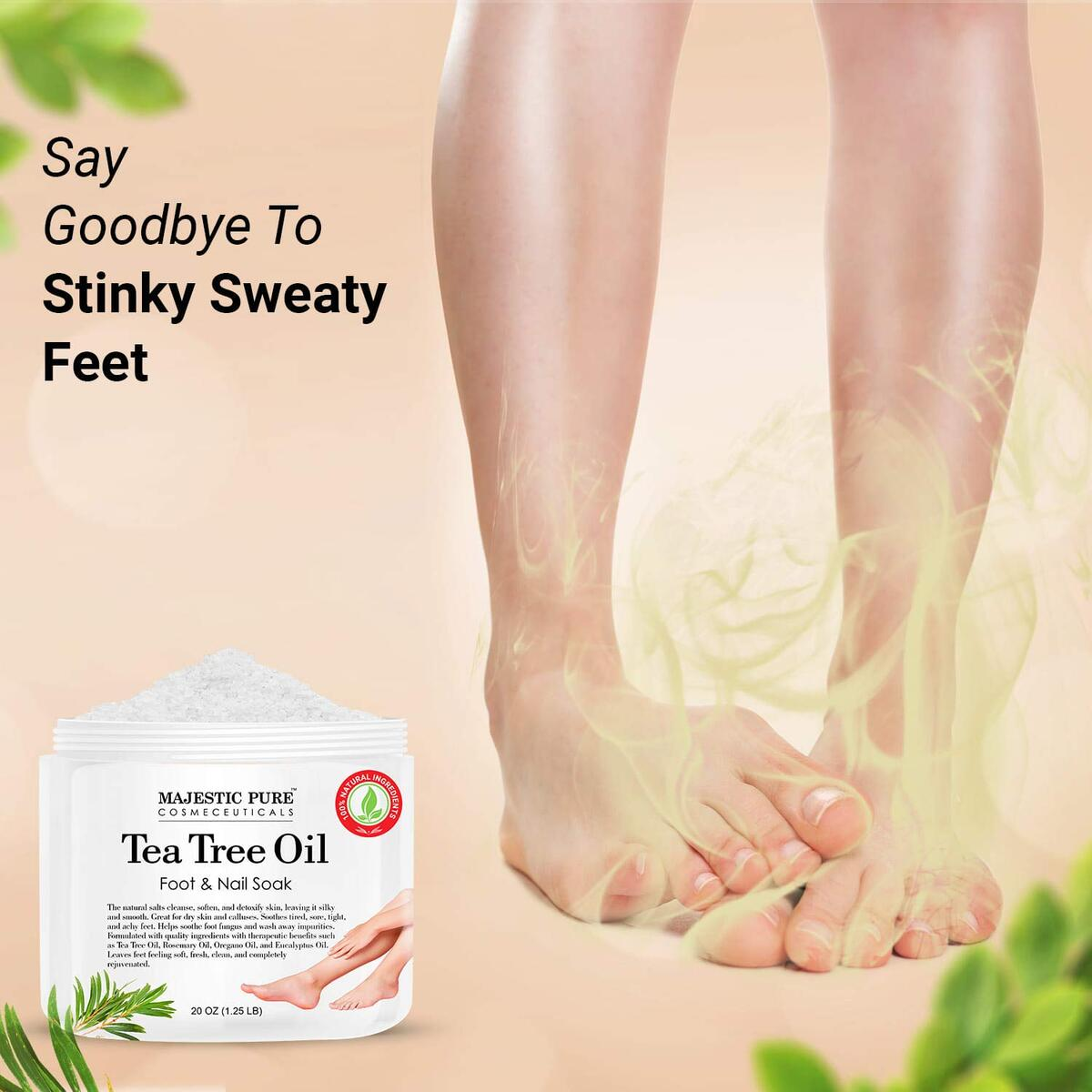 Tea Tree Foot Soak for Dry Cracked Feet - 100% Natural with Epsom Salt and Top Six Essential Oils - Foot & Nail Soak for Tired, Sore and Achy Feet - 20 oz