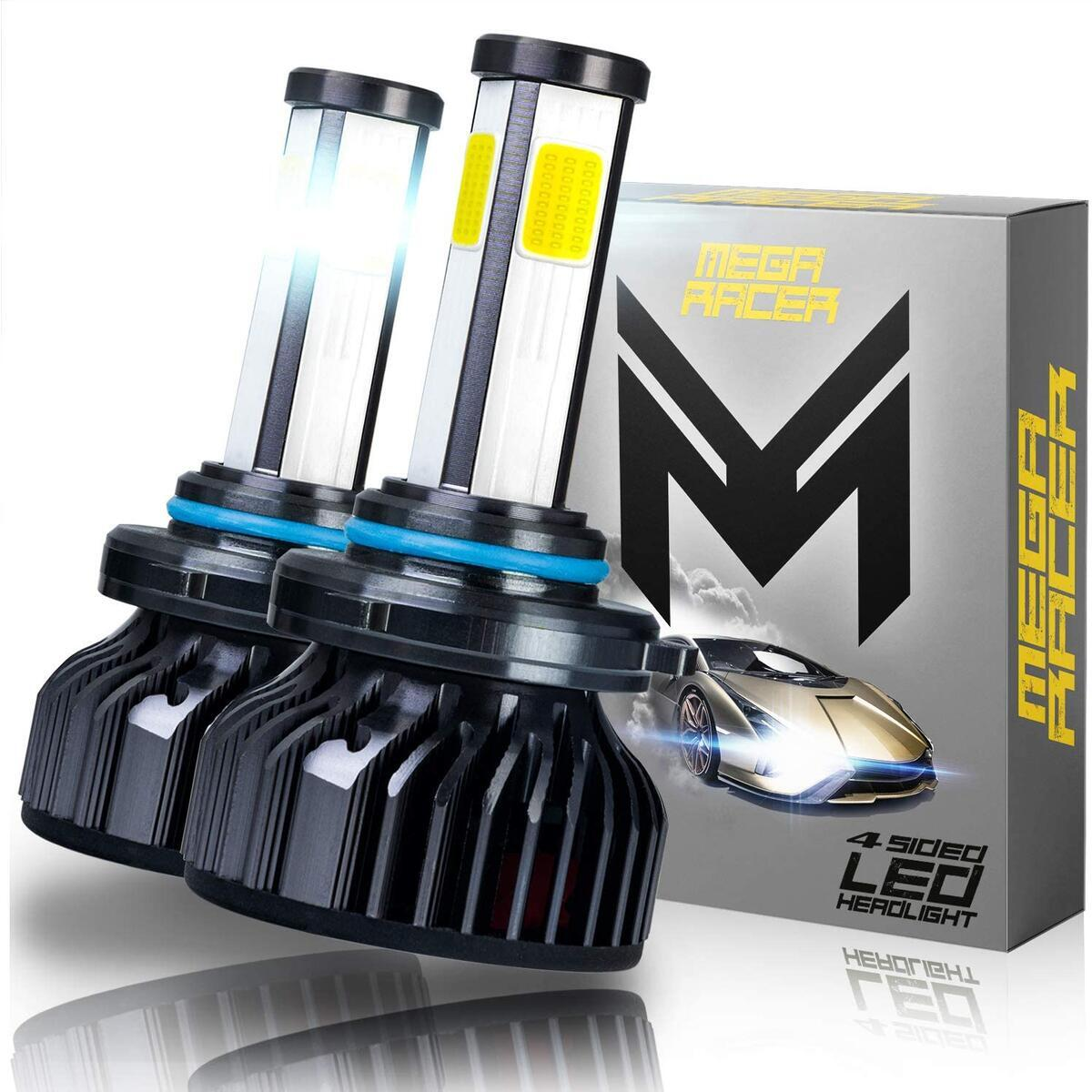 Mega Racer 4 Sided 9005/H10/HB3 LED Headlight Bulb - High Beam, Fog Light, or Low Beam 60 Watt 6000K Diamond White 10000 LM COB IP68 Waterproof Rating, 2 Pieces