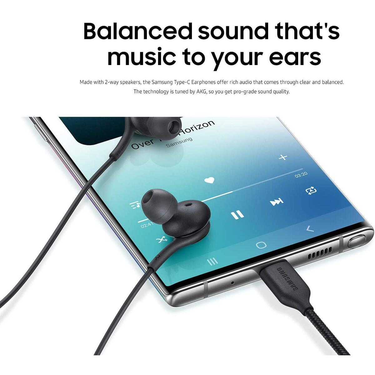 Samsung EO-IC100BBEGUS Corded Type-C Earphones, Black (Renewed)