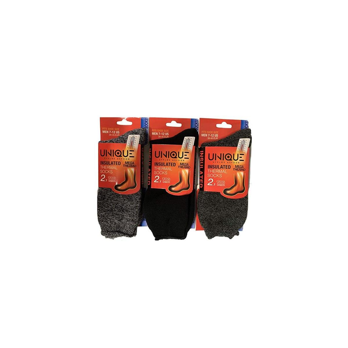 3 Pack Black,Charcoal,Dark Grey Men's Thermal Socks - Size 7-12