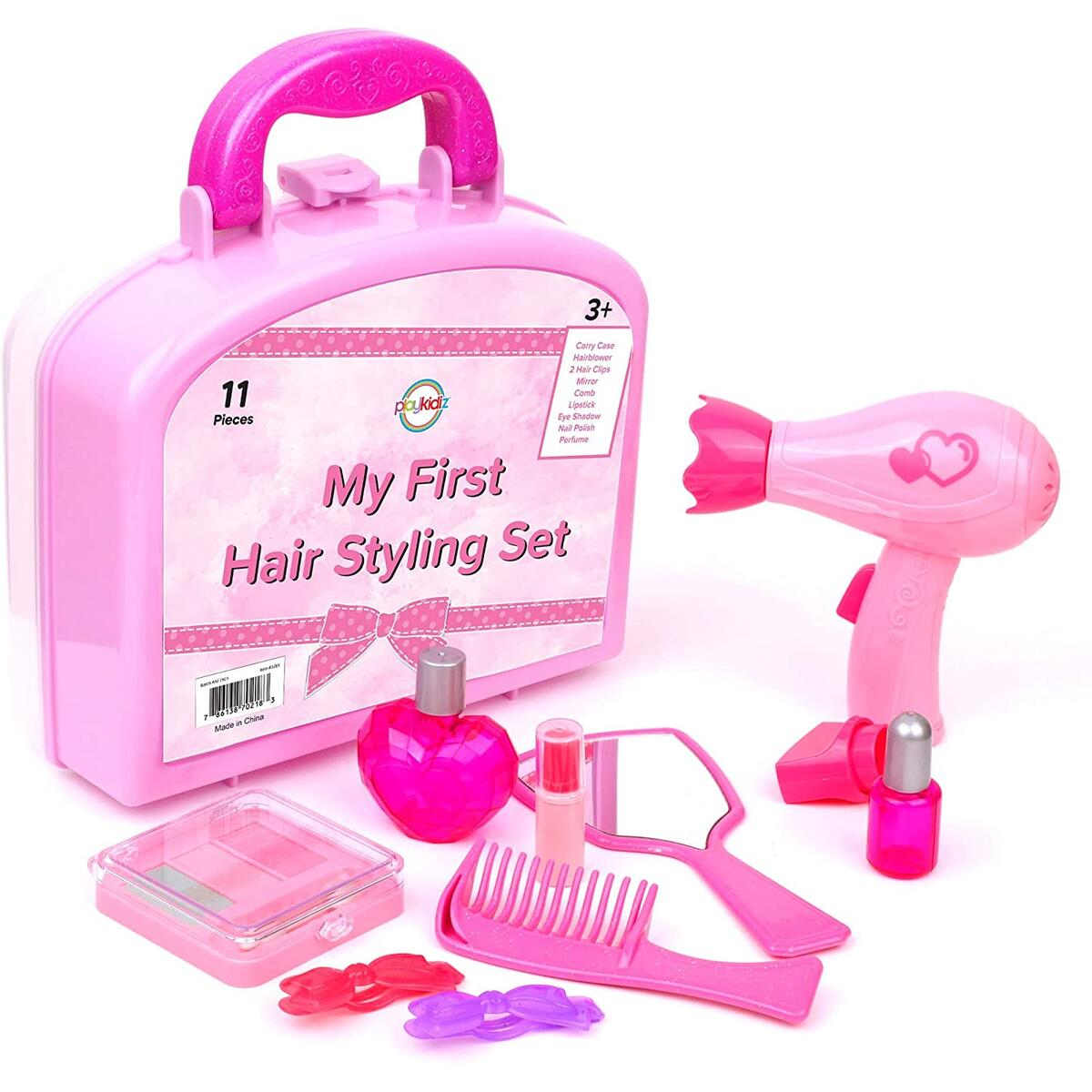 Playkidz My First Hair Styling Set - Children's 11 Pcs Vanity Set - Perfect for Beauty Salon Pretend Play w/ Makeup and Hairdresser Tools, Recommended for Ages 3+