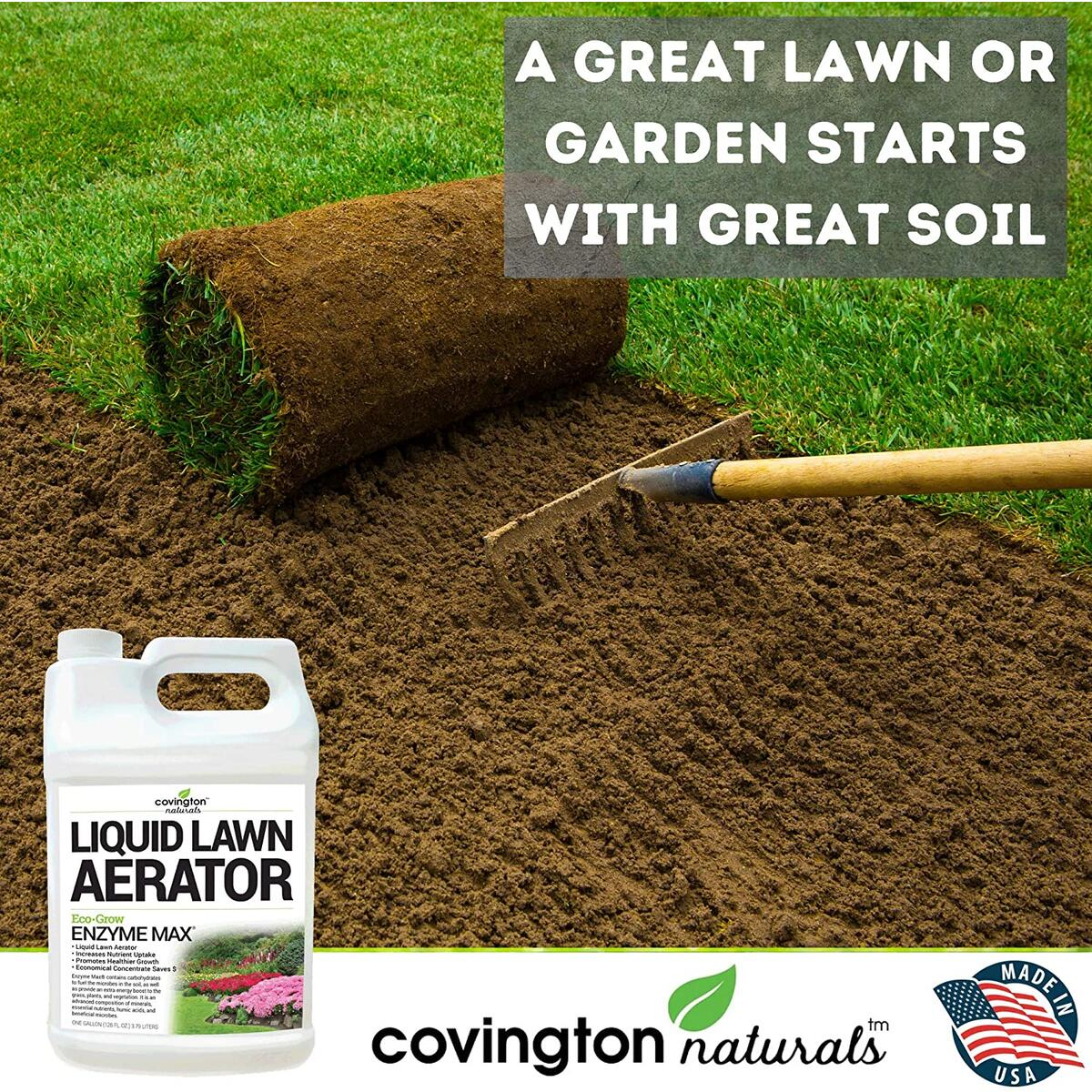 Liquid Aerator (32oz) - Liquid Lawn Aerator Loosens & Conditions Compacted Soil for Increased Nutrient Uptake - USA Made, OMRI Listed, Minerals, Nutrients, Humic Acids, Microbes for Healthier Growth