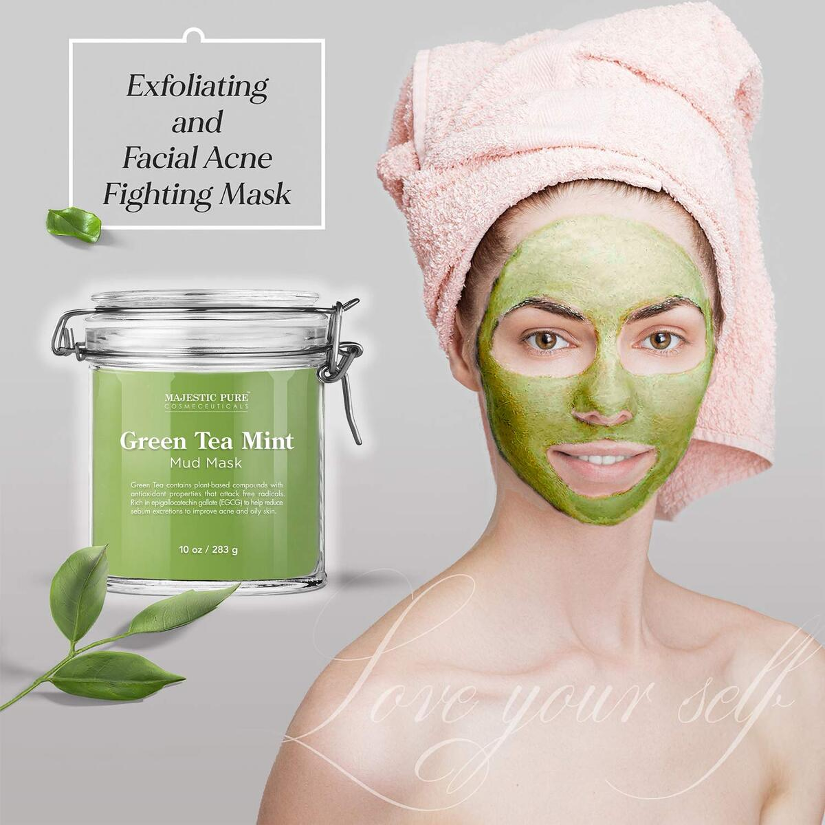 Green Tea Mint Mud Mask - Exfoliating Facial Face and Skin Mask for Blackhead and Acne - Rich in Antioxidant, Fight Free Radicals, 10 oz