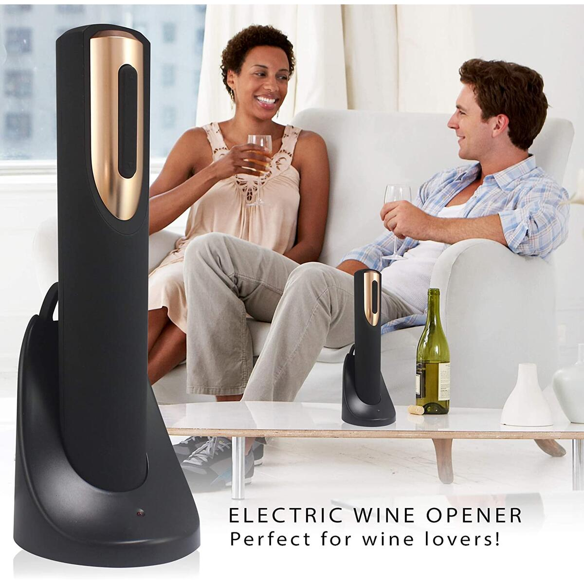 Vin Fresco Electric Wine Opener, Automatic Electric Wine Bottle Corkscrew Opener with Foil Cutter, Rechargeable Wine Openers