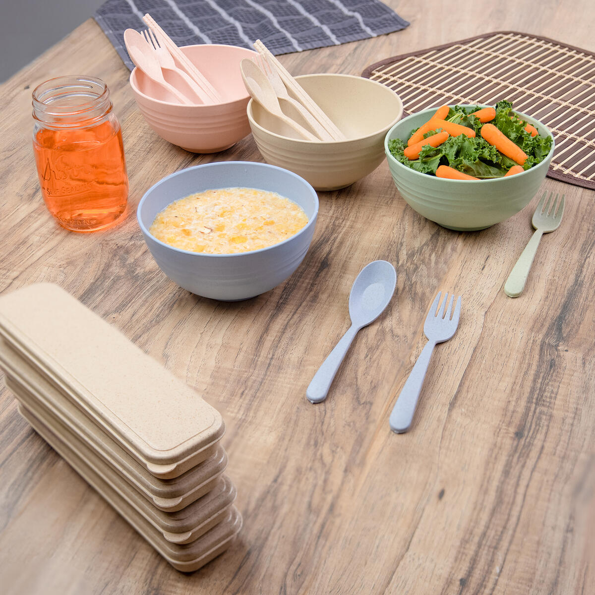4 sets of eco-friendly Wheat Straw bowl set, Unbreakable Biodegradable ramen bowls, cereal bowls set with utensils, Zero Plastic, Zero Waste