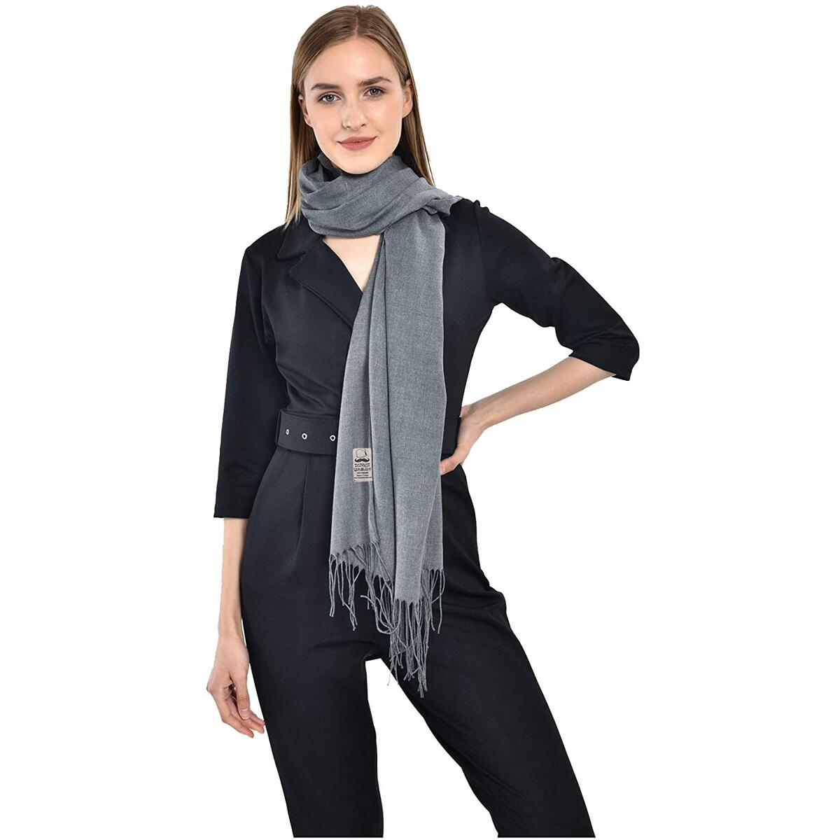 Pashmina Scarfs for Women Shawls and Wraps Soft Lightweight (Gray)