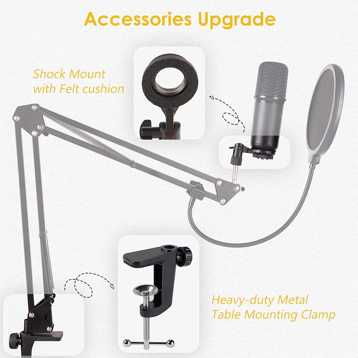 ZINGYOU USB Microphone Bundle ZY-UA1 PC Laptop Recording Condenser Mic Kit for Podcasting Gaming Streaming YouTube on macOS and Windows with Adjustable Scissor Arm Metal Shock Mount Pop Filter(Black)