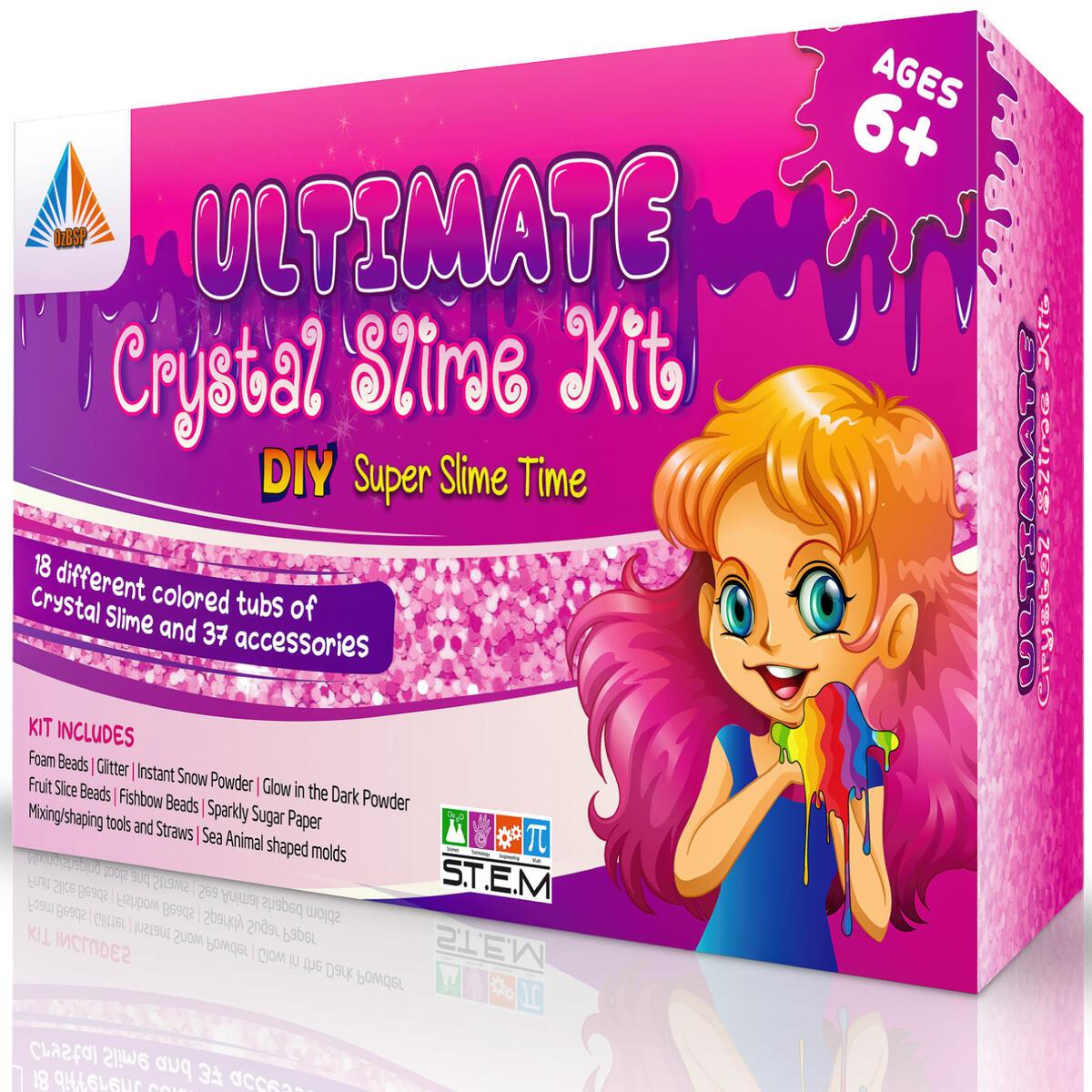 OzBSP Crystal Slime Kit. Slime Supplies. DIY Slime Making Kit for Girls Boys Kids. 18 Tubs Pre-made Crystal Slime, 37 Mix in Accessories