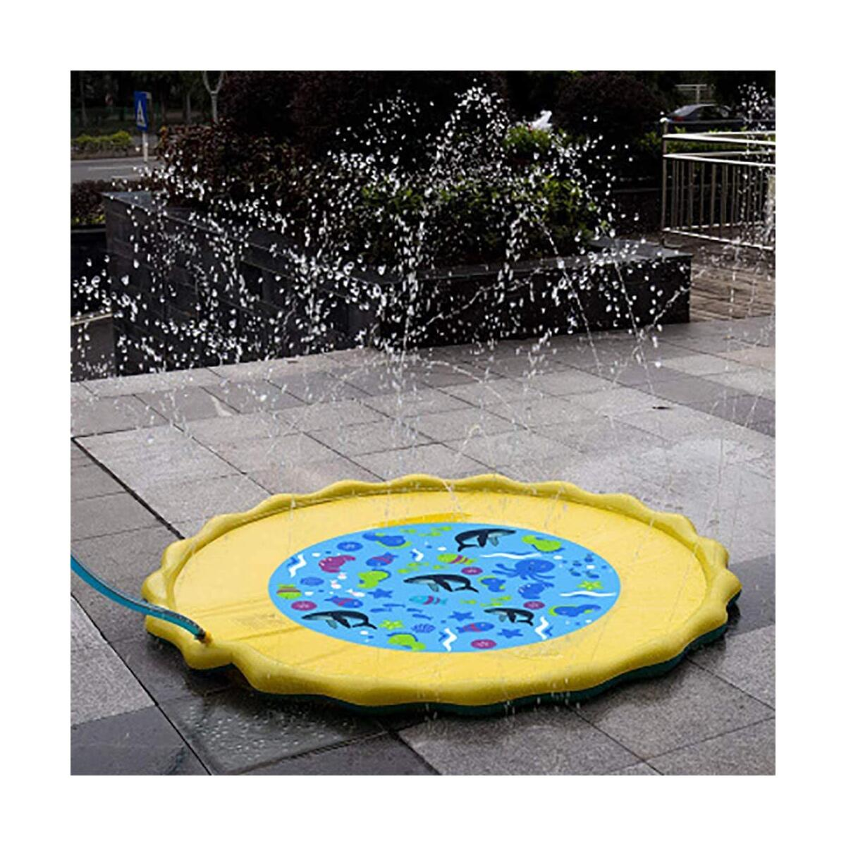 SOWOW Splash Play Mat Outdoor Water Play Sprinklers Summer Fun Backyard Play for Infant and Kids Sprinklers for Outside Splash Pad for Toddler Baby Pool 60