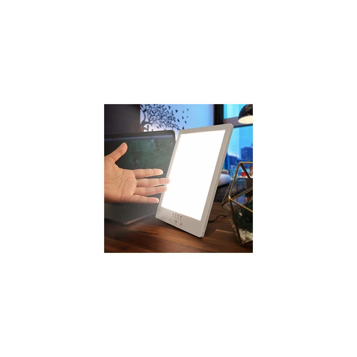 Mood Restore - 12,000 LUX Light Therapy Lamp - Happy Sun Light w/Timer, Simulates & Imitates Natural Sunlight UV-Free w/ 6ft Power Cord UL Listed