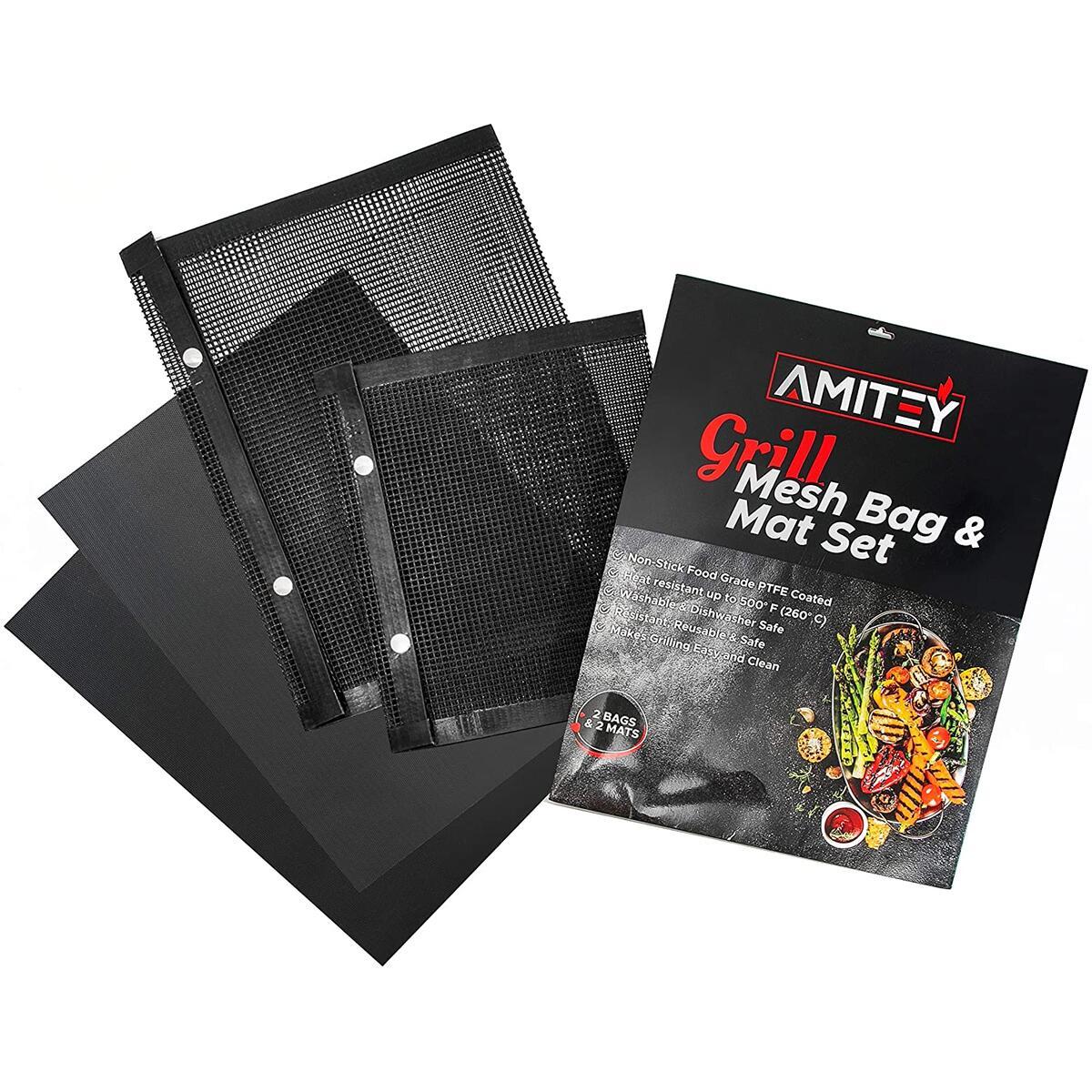 BBQ Grill UNIQUE Set - 2 Mesh Bags and 2 Mats