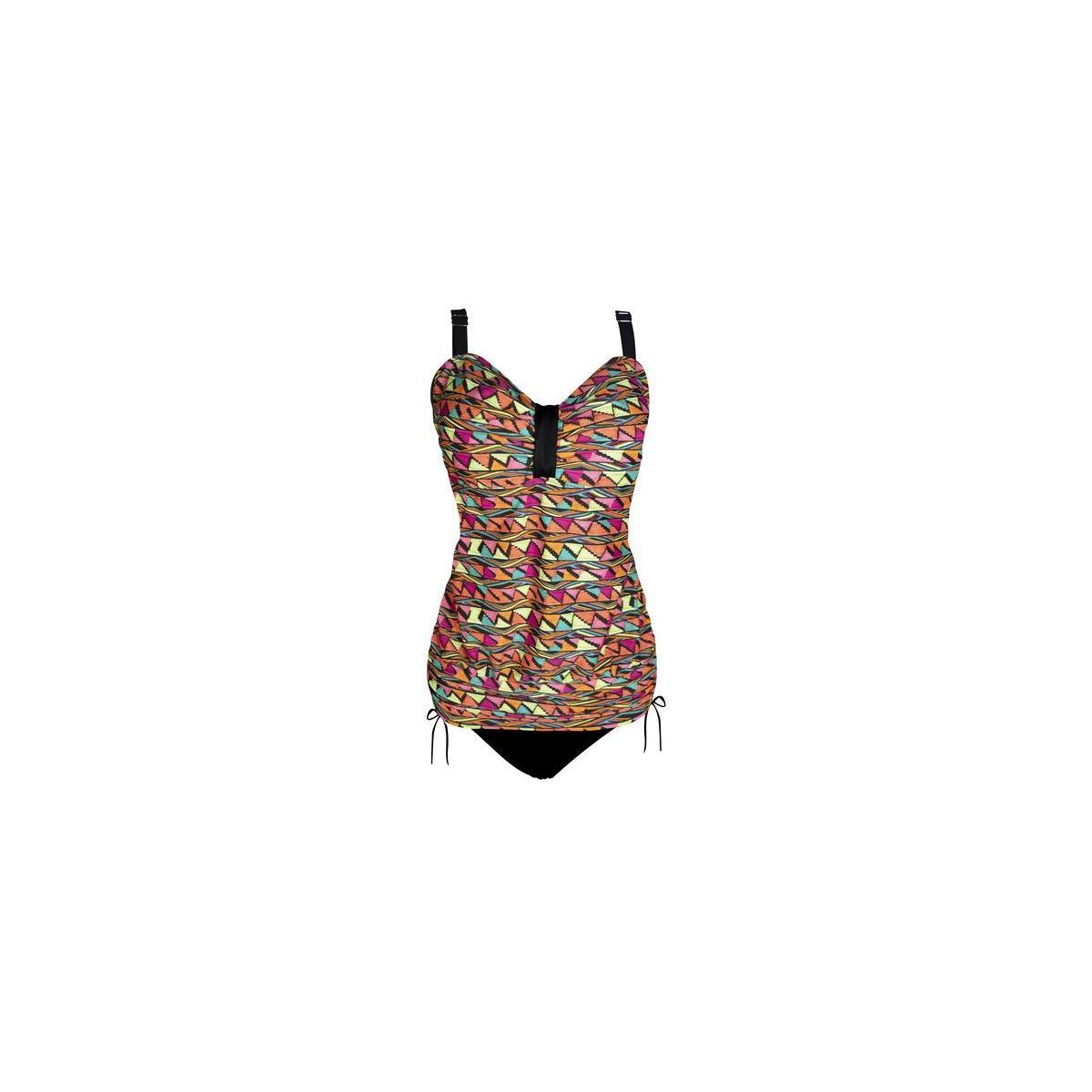 ALLEZ Women's Two Piece Swimwear Front Crossover Tankini Swimsuits Bathing Suits UPF 50+ (Color: Multi Colored / Fiesta Pattern)