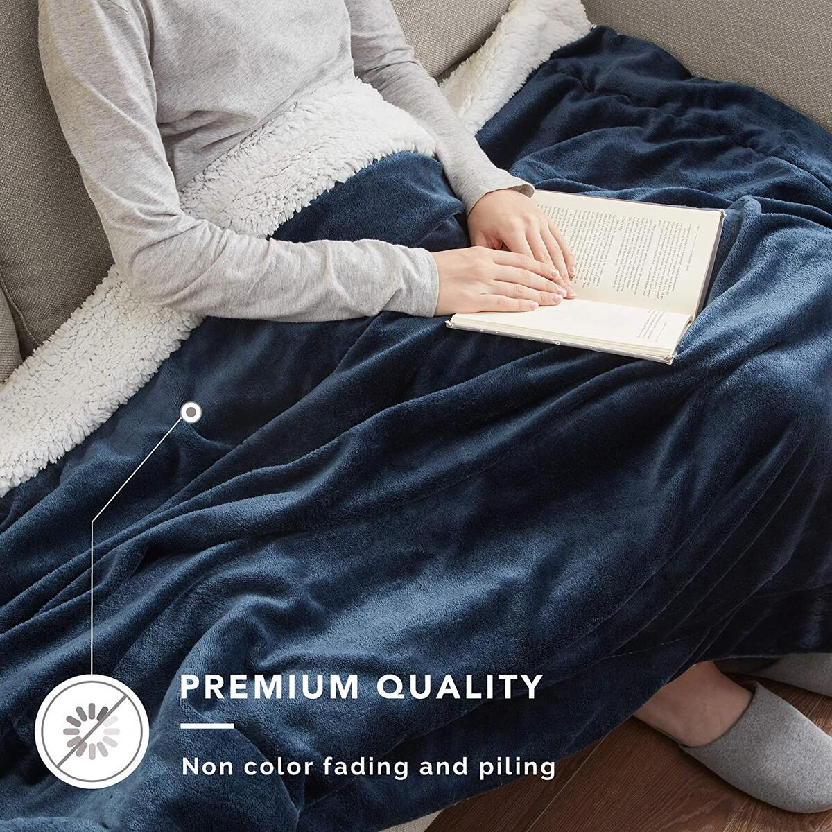 QUEEN Size ANY COLOR Degrees of Comfort Reversible Sherpa Queen Blanket for Bed - Warm Fuzzy Sherpa & Soft Plush Fleece, Warm Blankets for Winter   Couch, Bed, Camping   4 Sizes 10 Colors, Great Gift, Queen 90x90 QUEEN Size ANY COLOR