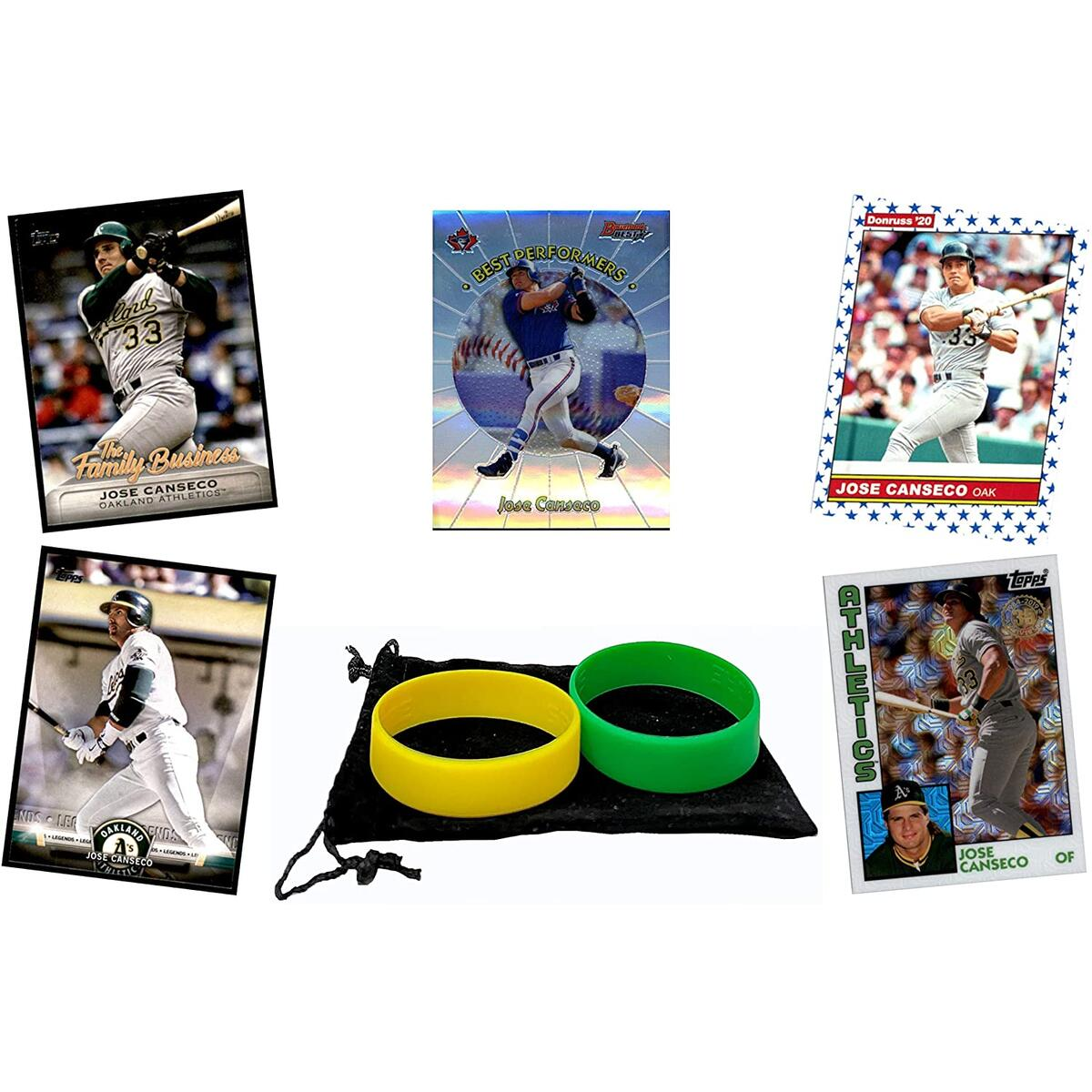 Jose Canseco Baseball Cards (5) ASSORTED Oakland Athletics Trading Card and Wristbands Gift Bundle