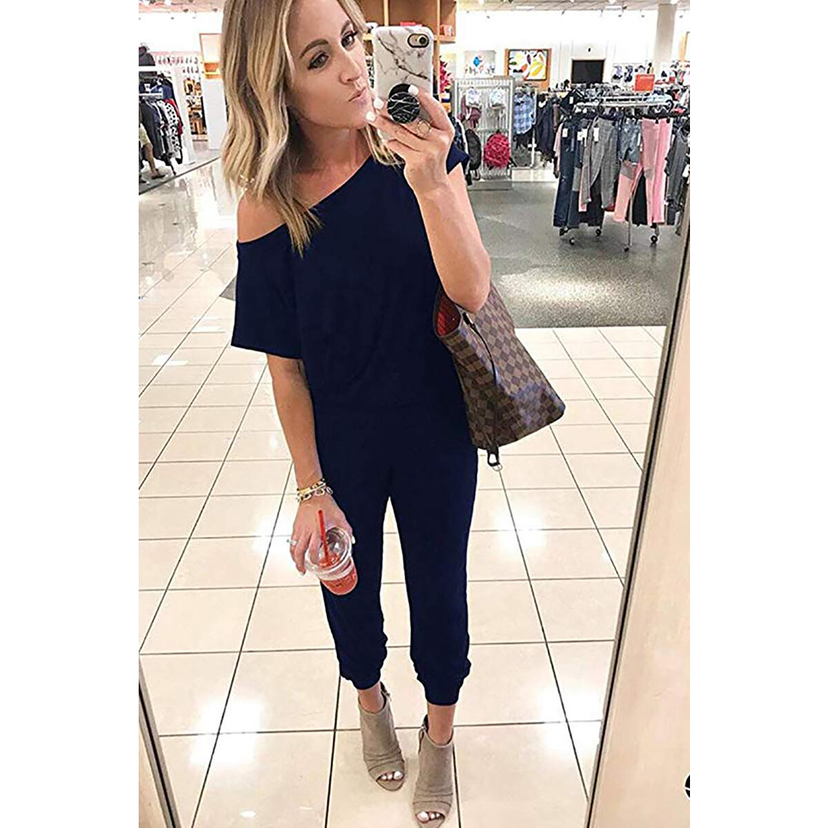Women's Loose Fit Off Shoulder Elastic Waist Beam Foot Jumpsuit Rompers with Pockets Navy