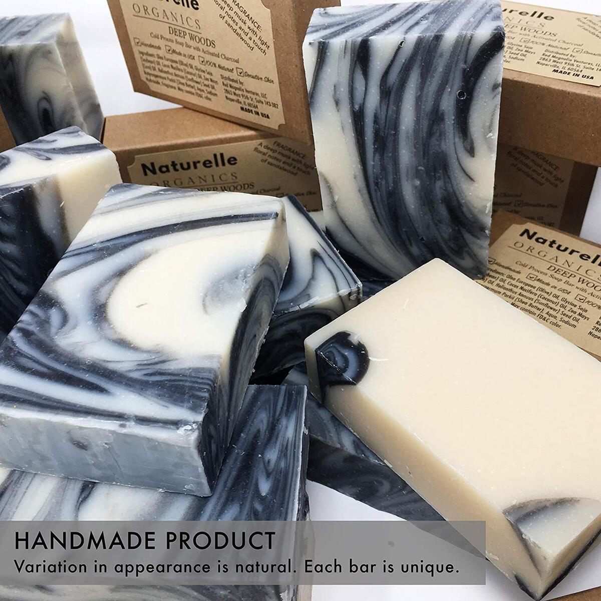 Activated Charcoal Olive Oil Soap - For Men and Women – Made in USA Cold Process Soap with Deep Musk, Sandalwood and Patchouli, 4,8 oz - For Sensitive Skin, Acne, Eczema, Psoriasis Face and Body Soap