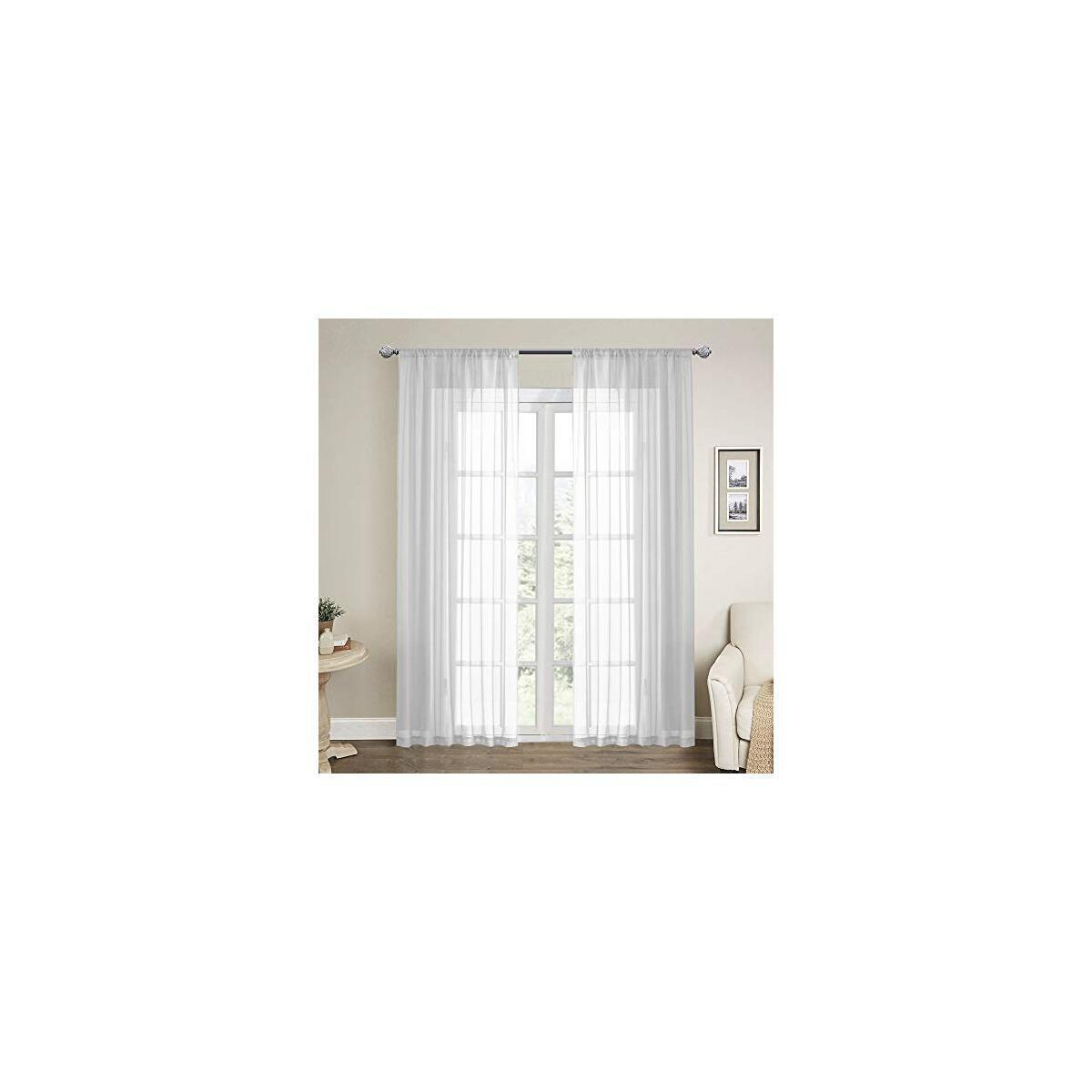 CNLAY Solid Sheer Curtains 84 inches Long, White Sheer Voile Rod Pocket Window Treatments Curtain, 2 Panels 52