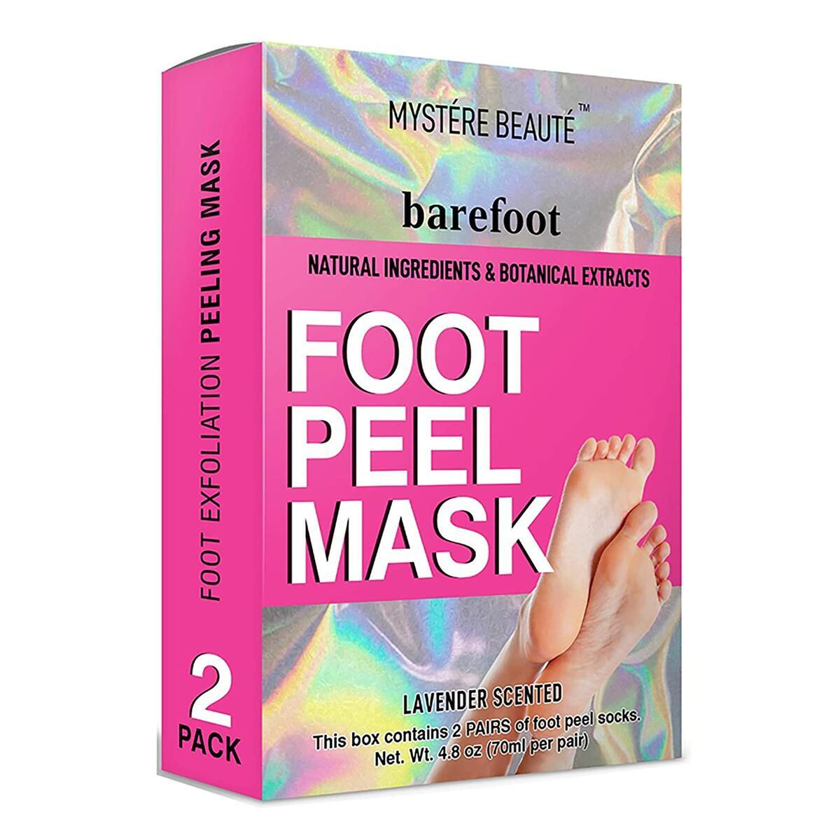 MYSTERE BEAUTE Exfoliant Foot Peel Mask Barefoot - Twin Pack - Lavender Scented 2 Pairs of Peeling Booties, Natural Foot Care Exfoliating Treatment for Cracked Heels, Calluses - Removes Dead, Dry Skin